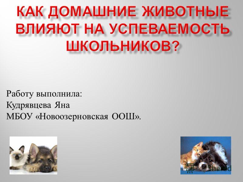 Работу выполнила : Кудрявцева Яна МБОУ « Новоозерновская ООШ ».