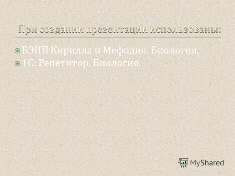 БЭНП Кирилла и Мефодия. Биология. 1 С : Репетитор. Биология.