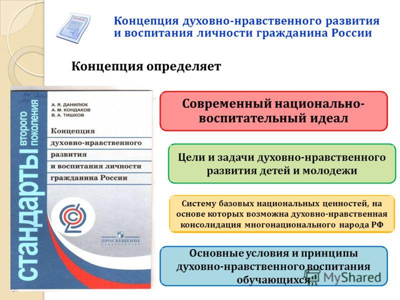 Концепция духовно-нравственного развития и воспитания личности гражданина России Концепция определяет Современный национально- воспитательный идеал Систему базовых национальных ценностей, на основе которых возможна духовно-нравственная консолидация м