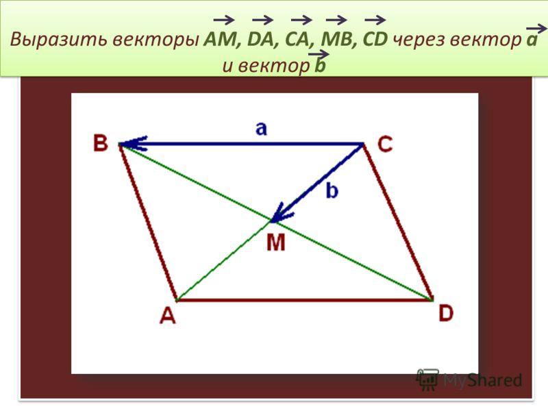 Выразить векторы AM, DA, CA, MB, CD через вектор a и вектор b