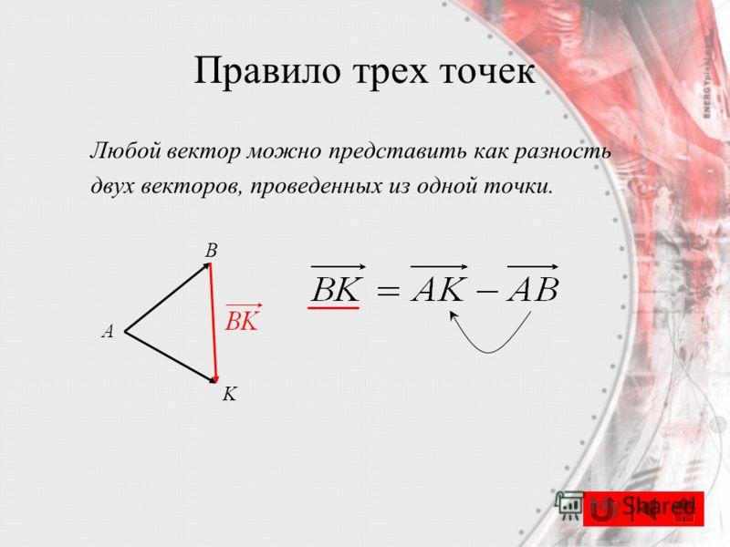 Любой вектор можно представить как разность двух векторов, проведенных из одной точки. А B K