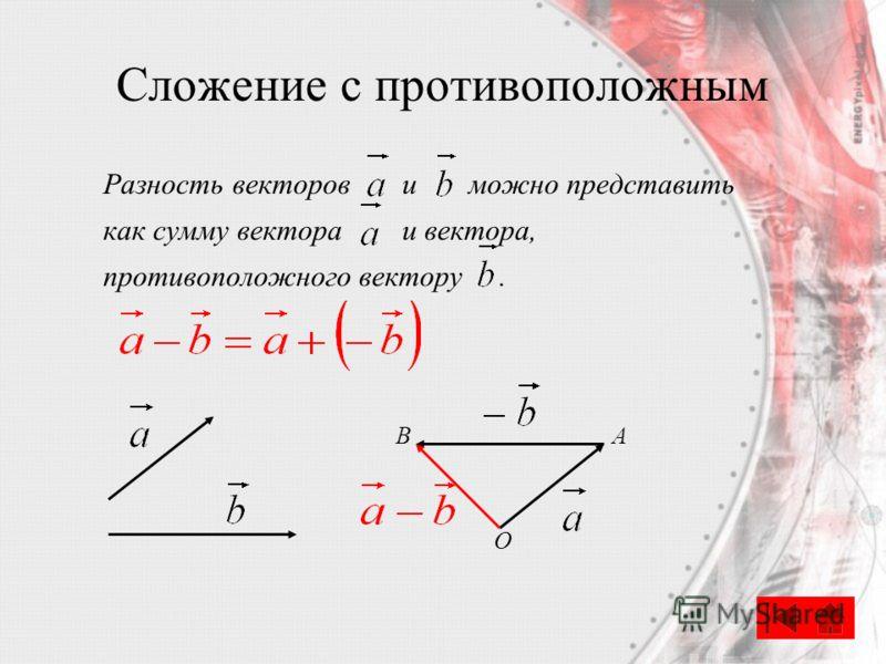 Сложение с противоположным Разность векторов и можно представить как сумму вектора и вектора, противоположного вектору. АB O