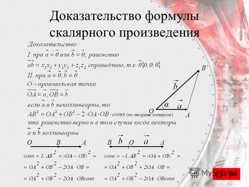 Доказательство формулы скалярного произведения O A B α OBAOBA