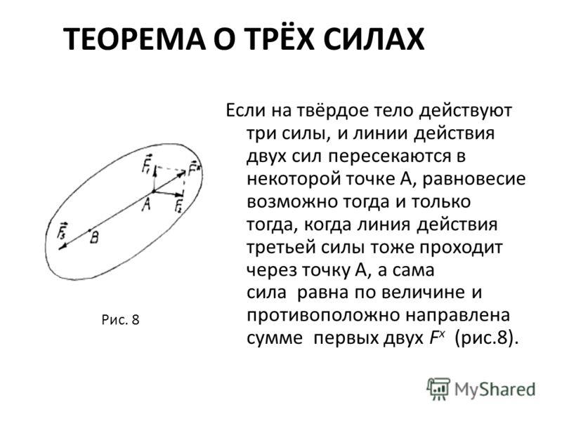 ТЕОРЕМА О ТРЁХ СИЛАХ Если на твёрдое тело действуют три силы, и линии действия двух сил пересекаются в некоторой точке А, равновесие возможно тогда и только тогда, когда линия действия третьей силы тоже проходит через точку А, а сама сила равна по ве