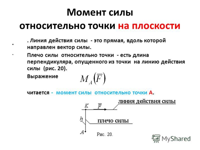 Момент силы относительно точки на плоскости... Линия действия силы - это прямая, вдоль которой направлен вектор силы. Плечо силы относительно точки - есть длина перпендикуляра, опущенного из точки на линию действия силы (рис. 20). Выражение читается