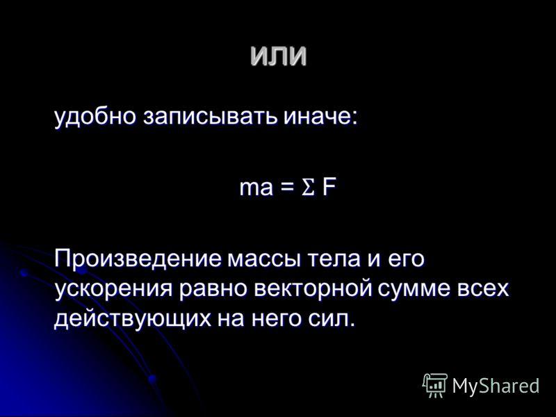 или удобно записывать иначе: удобно записывать иначе: ma = Ʃ F ma = Ʃ F Произведение массы тела и его ускорения равно векторной сумме всех действующих на него сил. Произведение массы тела и его ускорения равно векторной сумме всех действующих на него