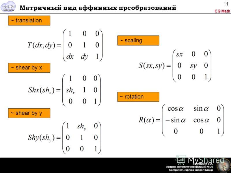 CG Math Галинский В.А. Физико-математический лицей 30 Computer Graphics Support Group 11 Матричный вид аффинных преобразований ~ translation ~ shear by x ~ shear by y ~ rotation ~ scaling