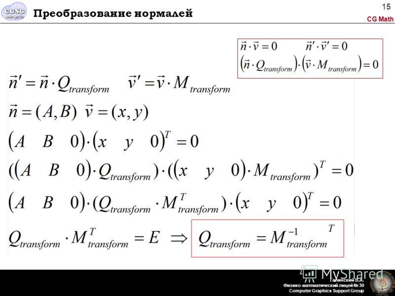 CG Math Галинский В.А. Физико-математический лицей 30 Computer Graphics Support Group 15 Преобразование нормалей