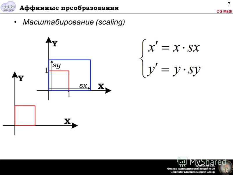 CG Math Галинский В.А. Физико-математический лицей 30 Computer Graphics Support Group 7 Аффинные преобразования Масштабирование (scaling)