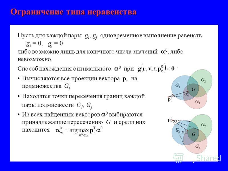 Пусть для каждой пары g i, g j одновременное выполнение равенств g i = 0, g j = 0 либо возможно лишь для конечного числа значений 0, либо невозможно. Способ нахождения оптимального 0 при : Вычисляются все проекции вектора p v на подмножества G i Нахо