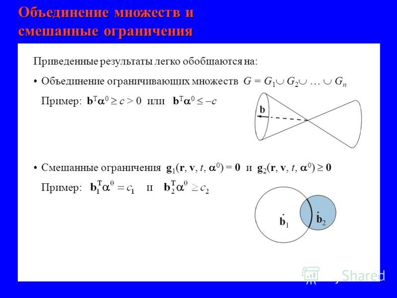 Объединение множеств и смешанные ограничения Приведенные результаты легко обобщаются на: Объединение ограничивающих множеств G = G 1 G 2 … G n Пример: b T 0 c > 0 или b T 0 c Смешанные ограничения g 1 (r, v, t, 0 ) = 0 и g 2 (r, v, t, 0 ) 0 Пример: