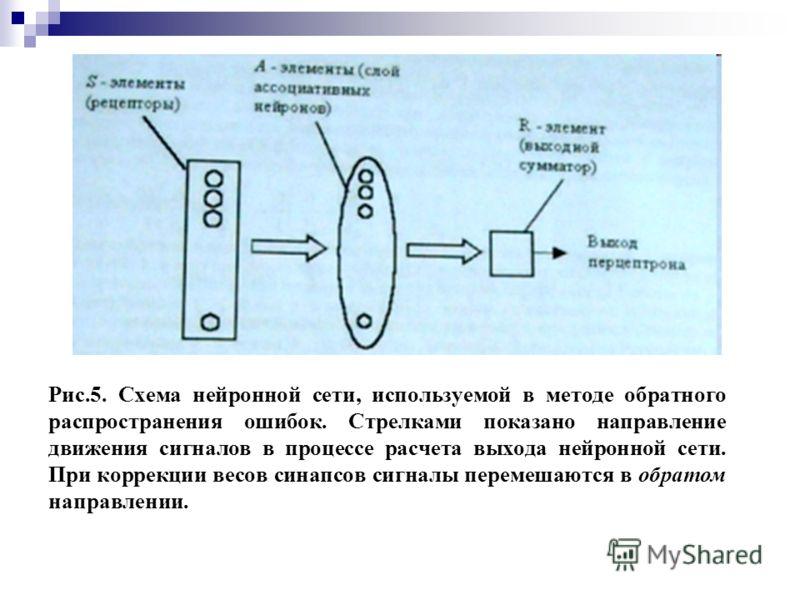 Рис.5. Схема нейронной сети, используемой в методе обратного распространения ошибок. Стрелками показано направление движения сигналов в процессе расчета выхода нейронной сети. При коррекции весов синапсов сигналы перемешаются в обратом направлении.