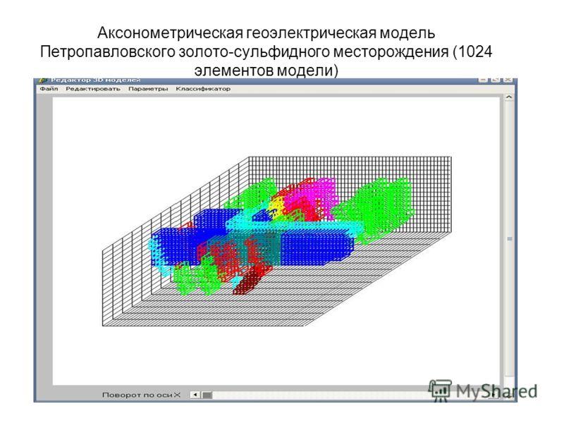 Аксонометрическая геоэлектрическая модель Петропавловского золото-сульфидного месторождения (1024 элементов модели)