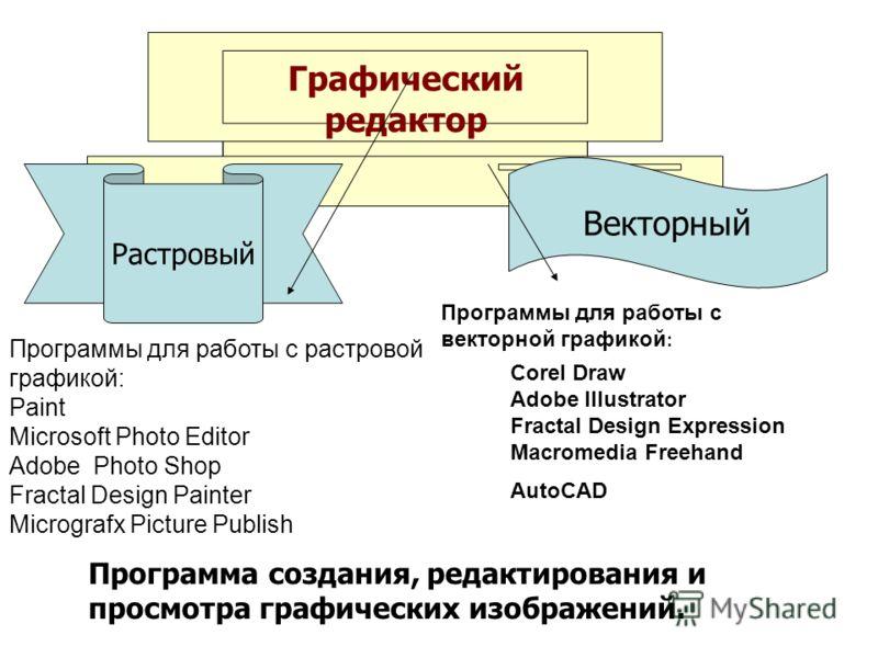 Графический редактор Растровый Векторный Программа создания, редактирования и просмотра графических изображений. Программы для работы с растровой графикой: Paint Microsoft Photo Editor Adobe Photo Shop Fractal Design Painter Micrografx Picture Publis