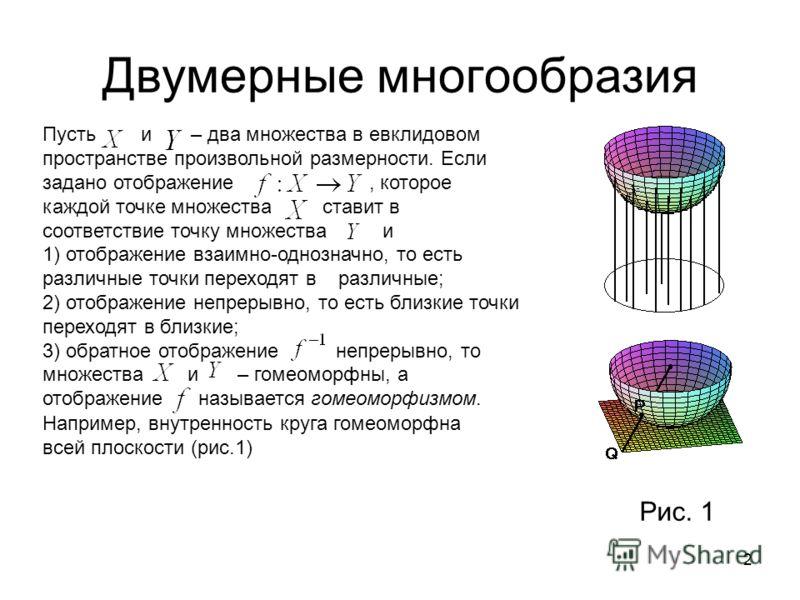 2 Двумерные многообразия Пусть и – два множества в евклидовом пространстве произвольной размерности. Если задано отображение, которое каждой точке множества ставит в соответствие точку множества и 1) отображение взаимно-однозначно, то есть различные
