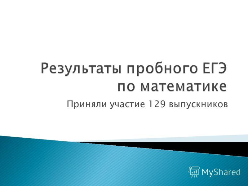 Приняли участие 129 выпускников