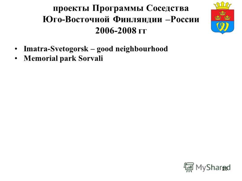 26 проекты Программы Соседства Юго-Восточной Финляндии –России 2006-2008 гг Imatra-Svetogorsk – good neighbourhood Memorial park Sorvali