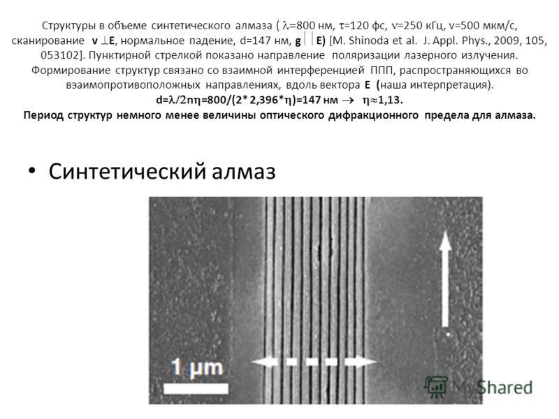 Структуры в объеме синтетического алмаза ( 800 нм, =120 фс, =250 кГц, v=500 мкм/с, сканирование v E, нормальное падение, d=147 нм, g E) [M. Shinoda et al. J. Appl. Phys., 2009, 105, 053102]. Пунктирной стрелкой показано направление поляризации лазерн