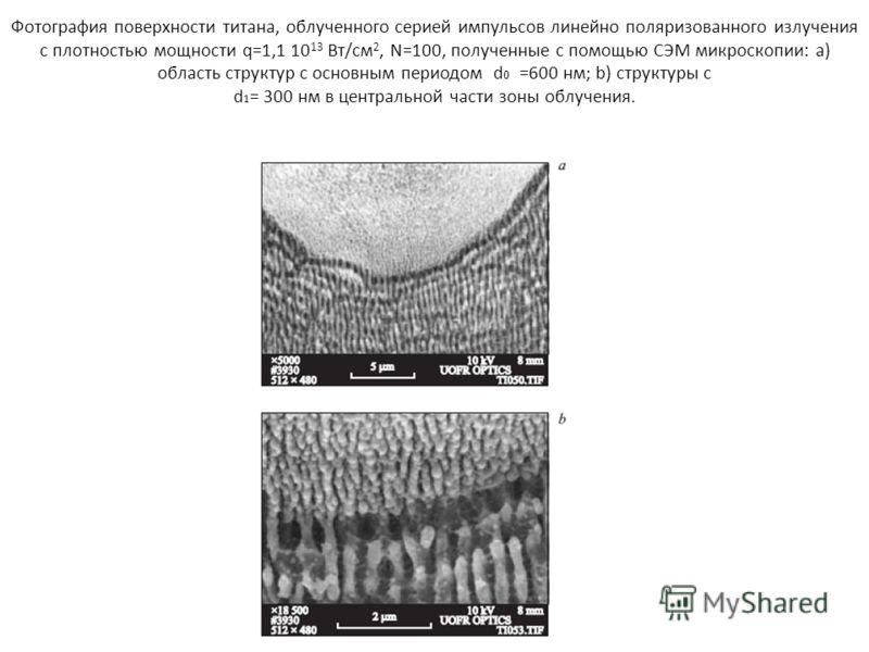 Фотография поверхности титана, облученного серией импульсов линейно поляризованного излучения с плотностью мощности q=1,1 10 13 Вт/см 2, N=100, полученные с помощью СЭМ микроскопии: а) область структур с основным периодом d 0 =600 нм; b) структуры с