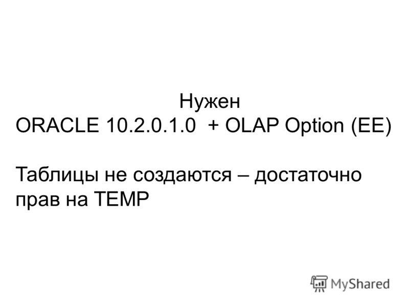 Нужен ORACLE 10.2.0.1.0 + OLAP Option (EE) Таблицы не создаются – достаточно прав на TEMP