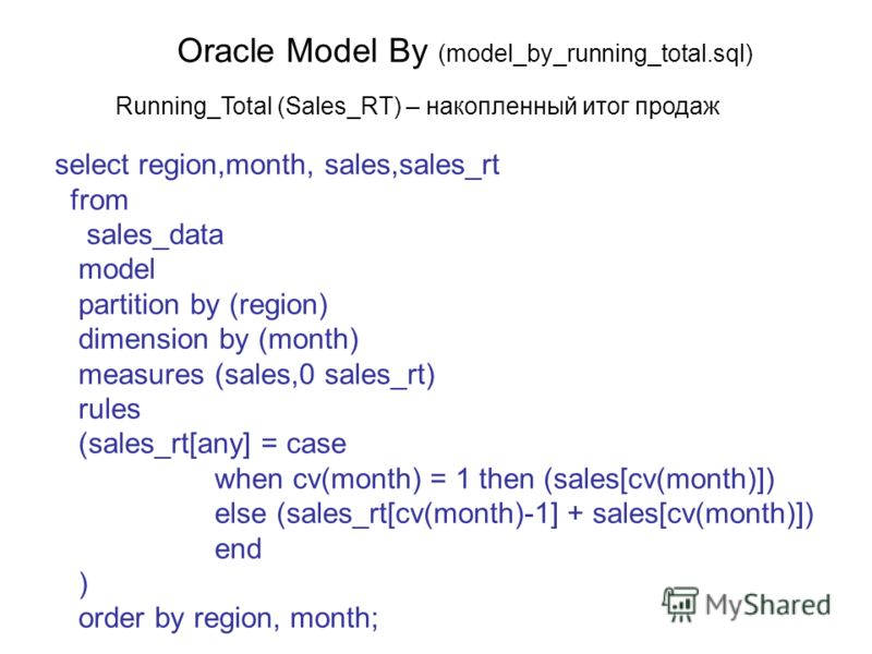 Oracle Model By (model_by_running_total.sql) select region,month, sales,sales_rt from sales_data model partition by (region) dimension by (month) measures (sales,0 sales_rt) rules (sales_rt[any] = case when cv(month) = 1 then (sales[cv(month)]) else