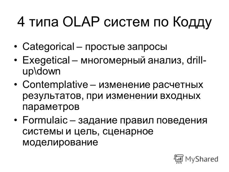 4 типа OLAP систем по Кодду Categorical – простые запросы Exegetical – многомерный анализ, drill- up\down Contemplative – изменение расчетных результатов, при изменении входных параметров Formulaic – задание правил поведения системы и цель, сценарное
