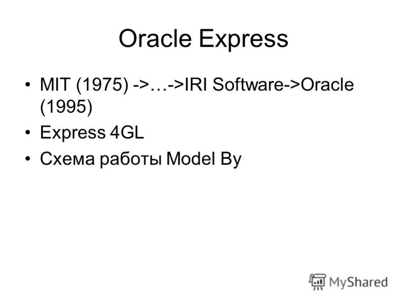 Oracle Express MIT (1975) ->…->IRI Software->Oracle (1995) Express 4GL Схема работы Model By