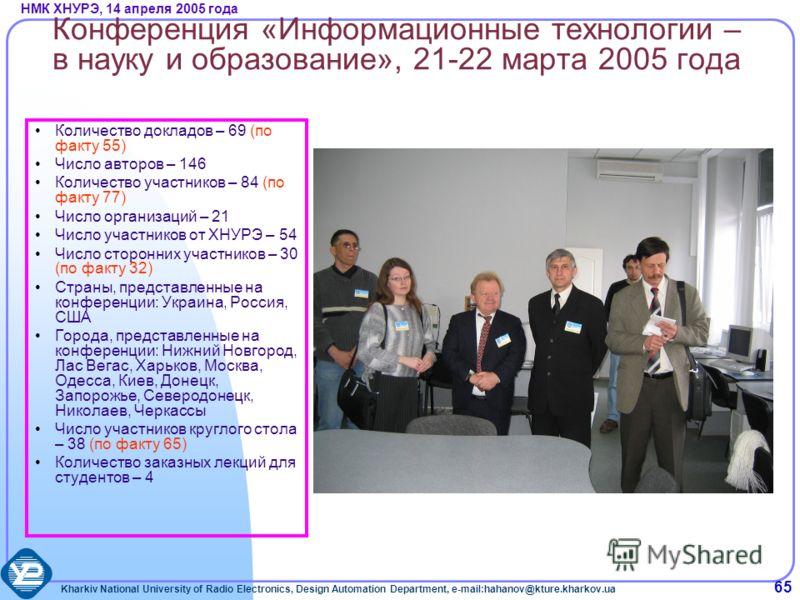 Kharkiv National University of Radio Electronics, Design Automation Department, e-mail:hahanov@kture.kharkov.ua НМК ХНУРЭ, 14 апреля 2005 года 65 Конференция «Информационные технологии – в науку и образование», 21-22 марта 2005 года Количество доклад