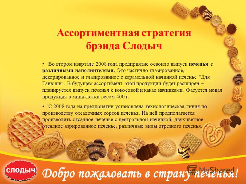 Ассортиментная стратегия брэнда Слодыч Во втором квартале 2008 года предприятие освоило выпуск печенья с различными наполнителями. Это частично глазированное, декорированное и глазированное с карамельной начинкой печенье