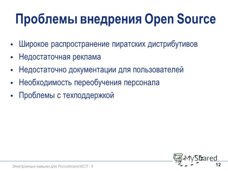 Электронные навыки для Российских МСП - II 12 Проблемы внедрения Open Source Широкое распространение пиратских дистрибутивов Недостаточная реклама Недостаточно документации для пользователей Необходимость переобучения персонала Проблемы с техподдержк