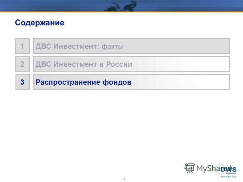 11 ДВС Инвестмент в России * ДВС Инвестмент Россия Рынок коллективных инвестиций в России УК ДВС Инвестмент Основана2004 СЧА 73 млн. (2,5 млрд руб.) Кол-во фондов5 Агентская сеть Ситибанк ВТБ-24 Дойче Банк 32% 42%42% 1% 50% 16%16% 10%10% 15% 30% 5% *