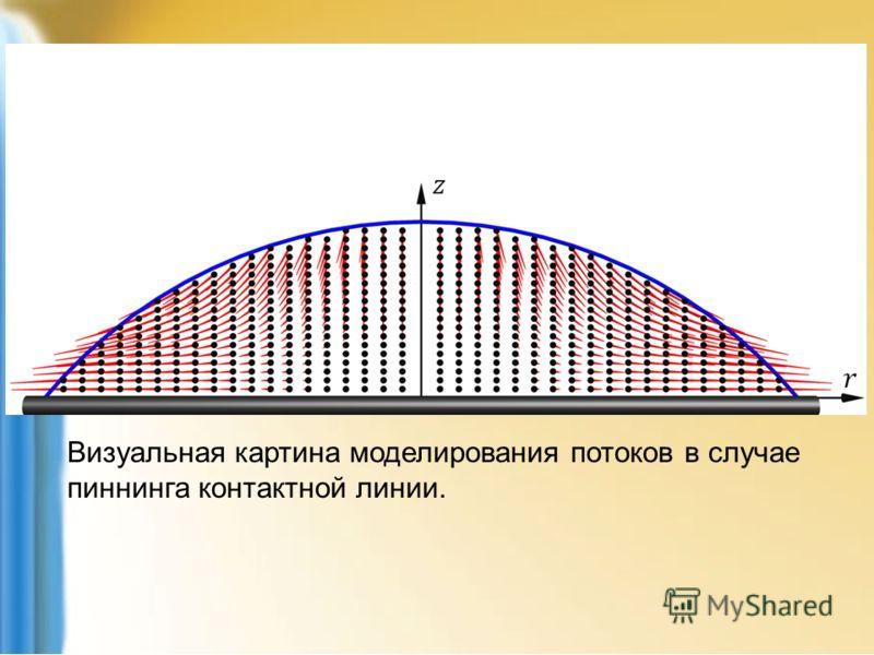 Визуальная картина моделирования потоков в случае пиннинга контактной линии.