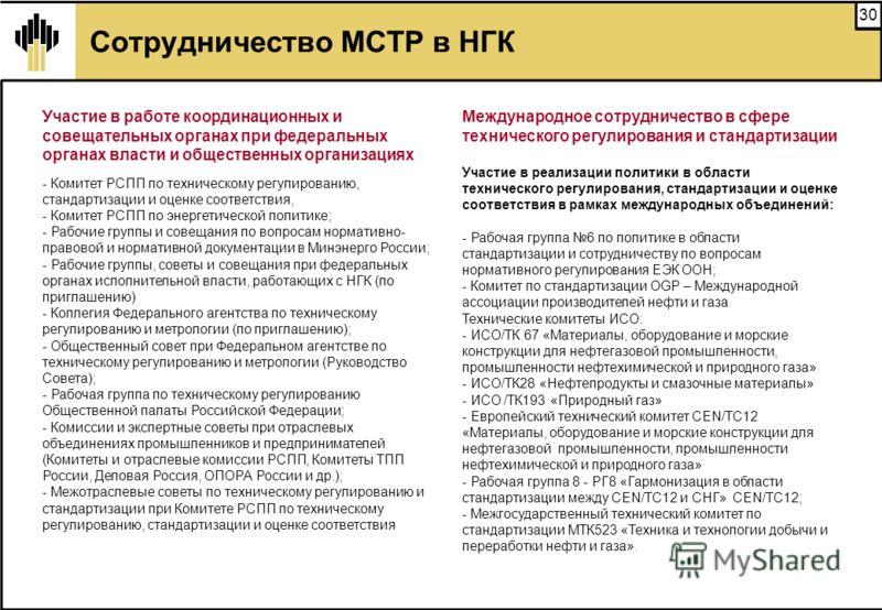 30 Сотрудничество МСТР в НГК Участие в работе координационных и совещательных органах при федеральных органах власти и общественных организациях - Комитет РСПП по техническому регулированию, стандартизации и оценке соответствия, - Комитет РСПП по эне