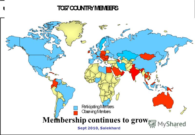 59 Sept 2010, Salekhard 59 Membership continues to grow