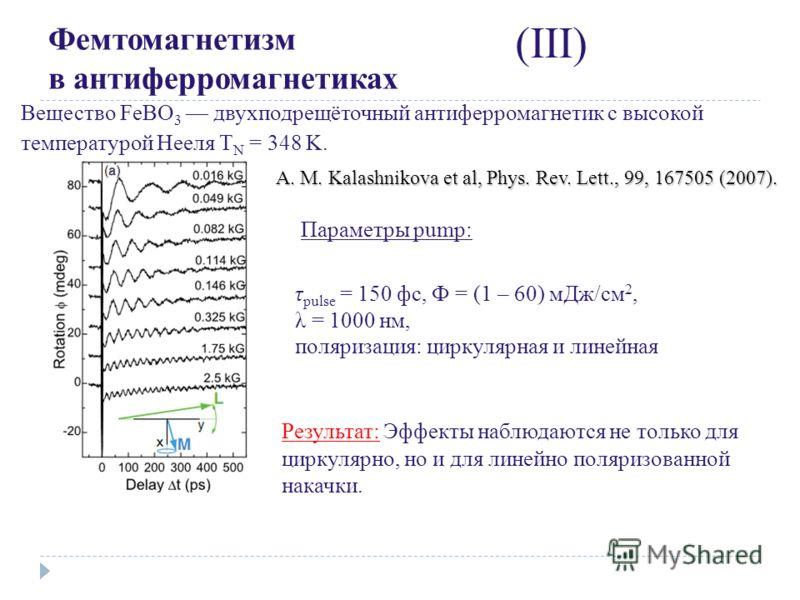 Фемтомагнетизм в антиферромагнетиках (III) Результат: Эффекты наблюдаются не только для циркулярно, но и для линейно поляризованной накачки. A. M. Kalashnikova et al, Phys. Rev. Lett., 99, 167505 (2007). Вещество FeBO 3 двухподрещёточный антиферромаг