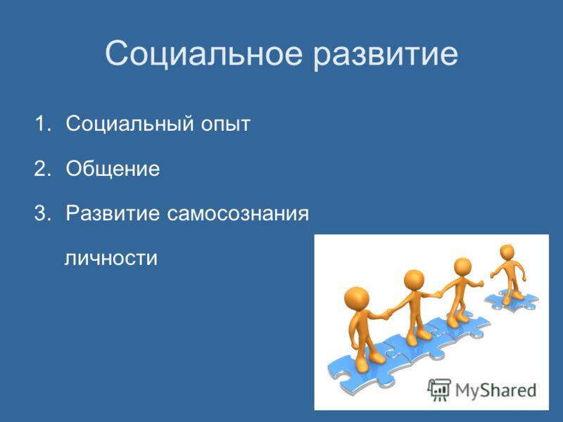Социальное развитие 1.Социальный опыт 2.Общение 3.Развитие самосознания личности