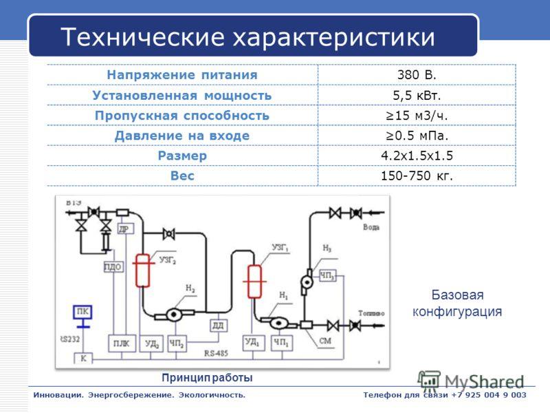 LOGO Технические характеристики Напряжение питания380 В. Установленная мощность5,5 кВт. Пропускная способность15 м3/ч. Давление на входе0.5 мПа. Размер4.2x1.5x1.5 Вес150-750 кг. Инновации. Энергосбережение. Экологичность. Базовая конфигурация Принцип