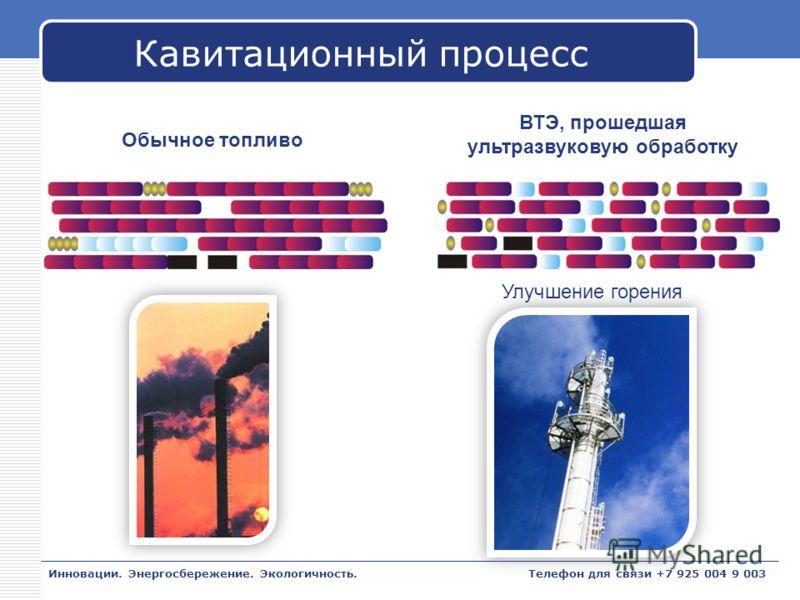 LOGO Кавитационный процесс Инновации. Энергосбережение. Экологичность. Обычное топливо ВТЭ, прошедшая ультразвуковую обработку Улучшение горения Телефон для связи +7 925 004 9 003