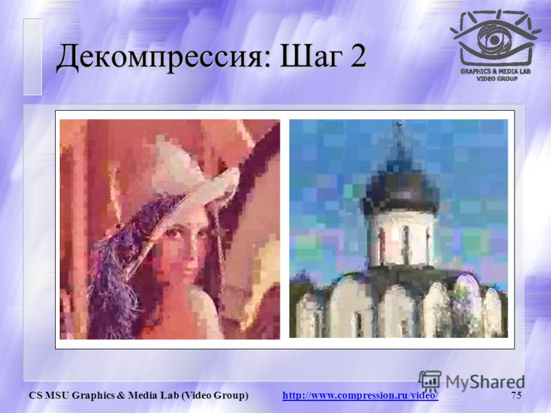 CS MSU Graphics & Media Lab (Video Group) http://www.compression.ru/video/74 Декомпрессия: Шаг 1