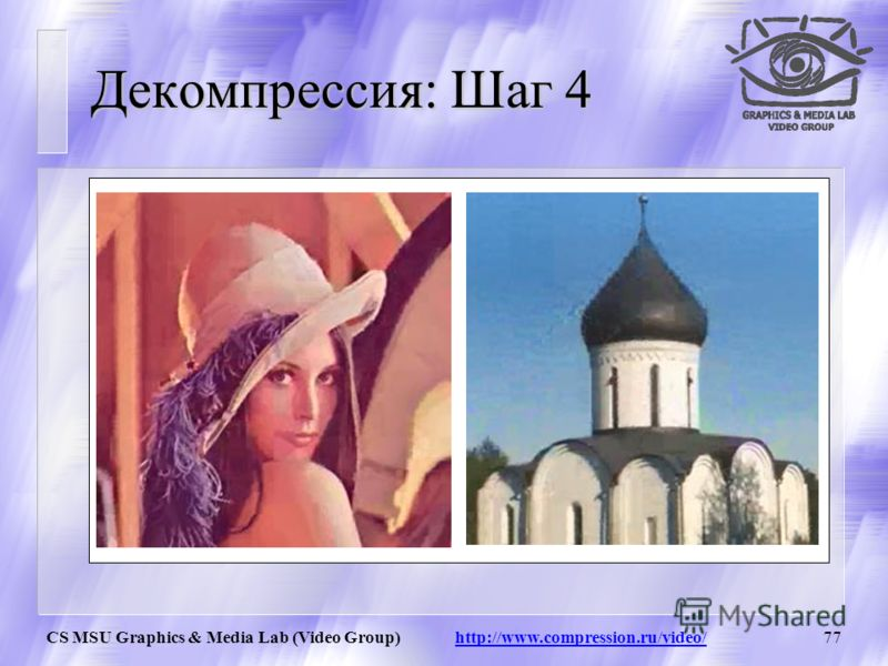 CS MSU Graphics & Media Lab (Video Group) http://www.compression.ru/video/76 Декомпрессия: Шаг 3