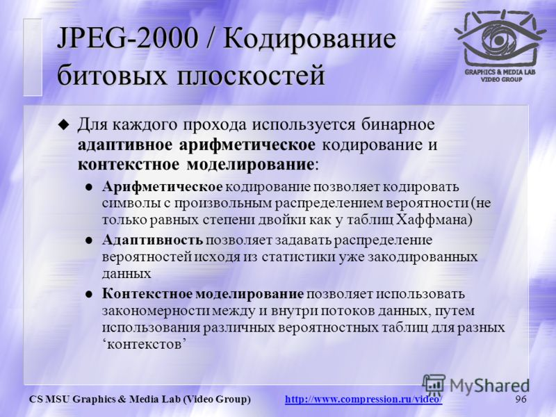 CS MSU Graphics & Media Lab (Video Group) http://www.compression.ru/video/95 JPEG-2000 / Кодирование битовых плоскостей u Разбиение DWT-пространства на одинаковые блоки, по умолчанию размером 64х64 Каждый блок кодируется не зависимо от других В отлич