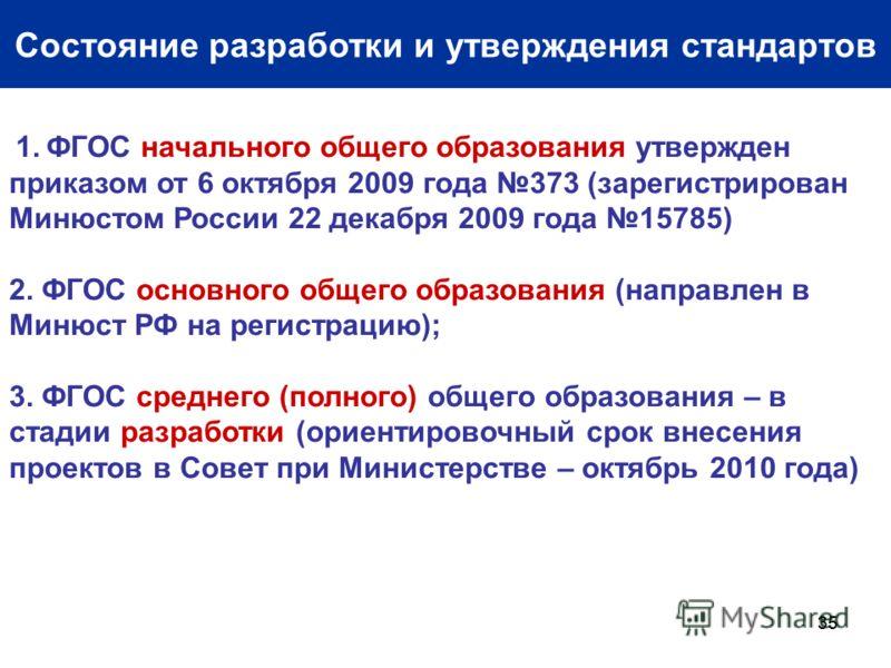 35 Состояние разработки и утверждения стандартов 1. ФГОС начального общего образования утвержден приказом от 6 октября 2009 года 373 (зарегистрирован Минюстом России 22 декабря 2009 года 15785) 2. ФГОС основного общего образования (направлен в Минюст