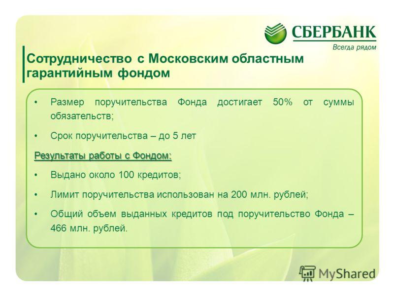 12 Сотрудничество с Московским областным гарантийным фондом Размер поручительства Фонда достигает 50% от суммы обязательств; Срок поручительства – до 5 лет Результаты работы с Фондом: Выдано около 100 кредитов; Лимит поручительства использован на 200