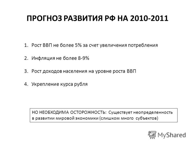 ПРОГНОЗ РАЗВИТИЯ РФ НА 2010-2011 1.Рост ВВП не более 5% за счет увеличения потребления 2.Инфляция не более 8-9% 3.Рост доходов населения на уровне роста ВВП 4.Укрепление курса рубля НО НЕОБХОДИМА ОСТОРОЖНОСТЬ: Существует неопределенность в развитии м