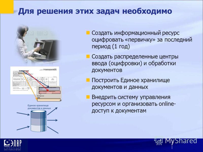 Для решения этих задач необходимо Создать информационный ресурс оцифровать «первичку» за последний период (1 год) Создать распределенные центры ввода (оцифровки) и обработки документов Построить Единое хранилище документов и данных Внедрить систему у