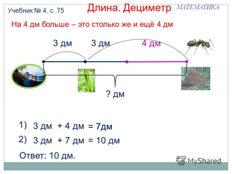 = 7дм МАТЕМАТИКА Длина. Дециметр Учебник 4, с. 75 3 дм + 4 дм = 7дм 3 дм 4 дм На 4 дм больше – это столько же и ещё 4 дм 1) ? дм 3 дм + 7 дм = 10 дм 2) Ответ: 10 дм.