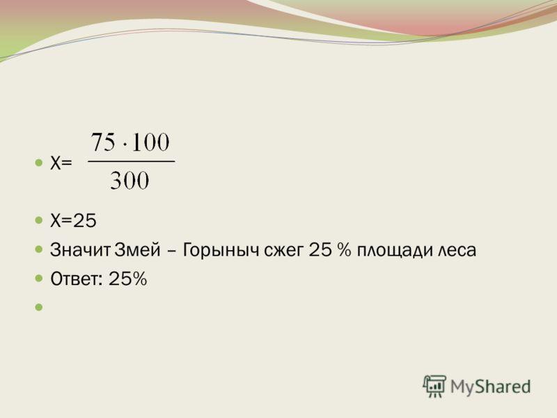 Х= Х=25 Значит Змей – Горыныч сжег 25 % площади леса Ответ: 25%