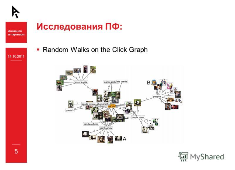 14.10.2011 5 Исследования ПФ: Random Walks on the Click Graph