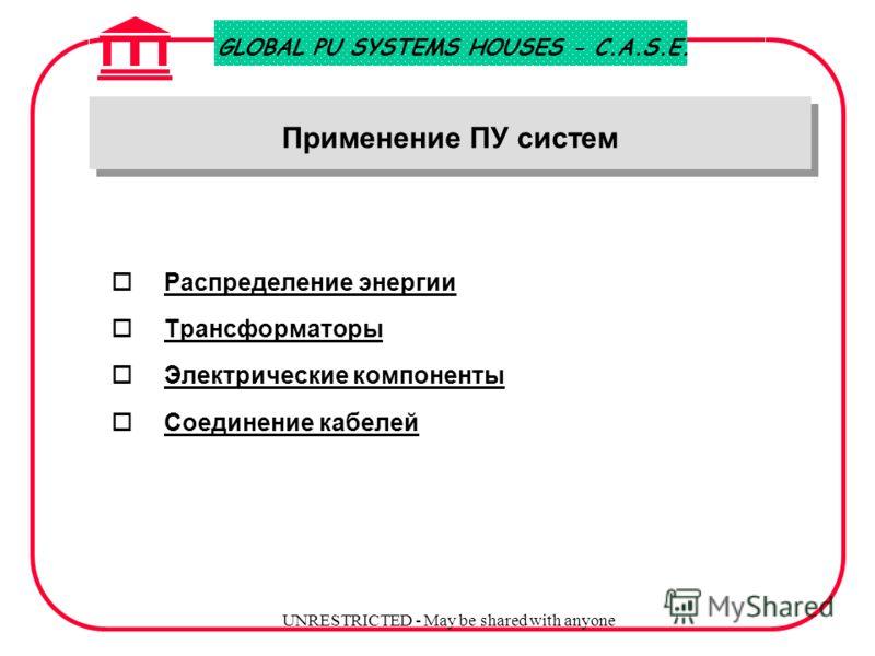 GLOBAL PU SYSTEMS HOUSES - C.A.S.E. UNRESTRICTED - May be shared with anyone Преимущество полиуретановых систем (ПУ) o Легкость переработки o высокая реакционная способность (по сравнению с эпоксидными смолами) o часто не требуется дополнительное отв