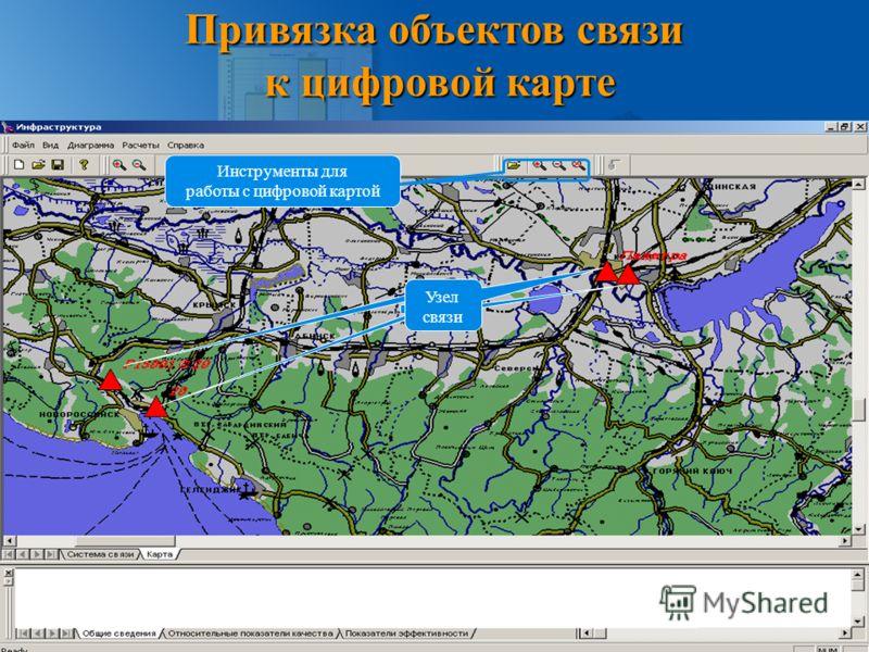 Привязка объектов связи к цифровой карте Узел связи Инструменты для работы с цифровой картой